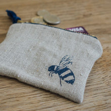 Load image into Gallery viewer, Bee Coin Purse Pure Linen - Helen Round
