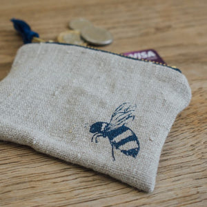 Bee Coin Purse Pure Linen - Helen Round