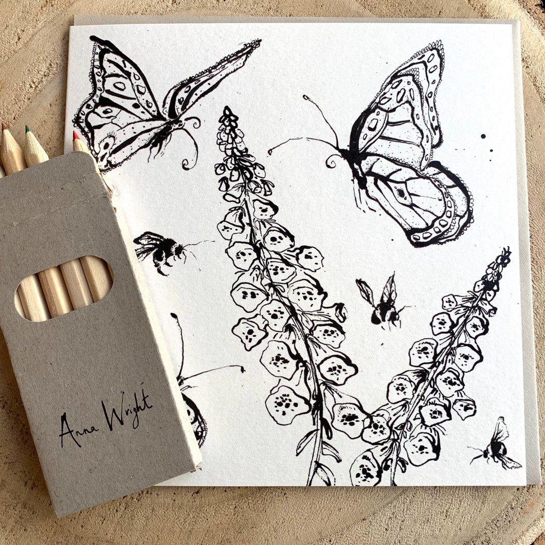 Colour Me In Greetings Card - Anna Wright