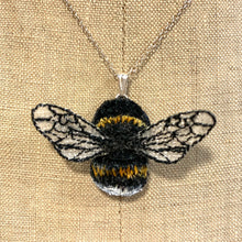 Load image into Gallery viewer, Bumble bee embroidered necklace - Vikki Lafford Garside