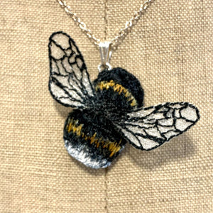 Bumble bee embroidered necklace - Vikki Lafford Garside