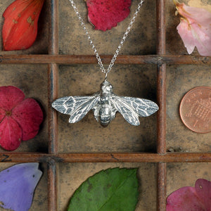 Pewter Bee Necklace (Large) - Glover & Smith
