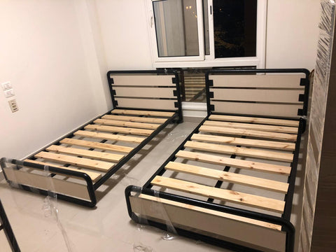Metal and Wooden Bed with Curved Corners