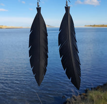 Load image into Gallery viewer, Large Black Feathered Earrings