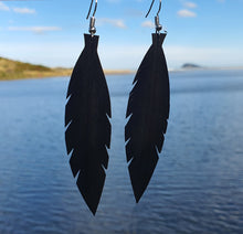 Load image into Gallery viewer, Medium Black Feathered Earrings