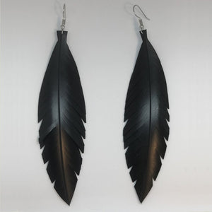 Large Black Feathered Earrings