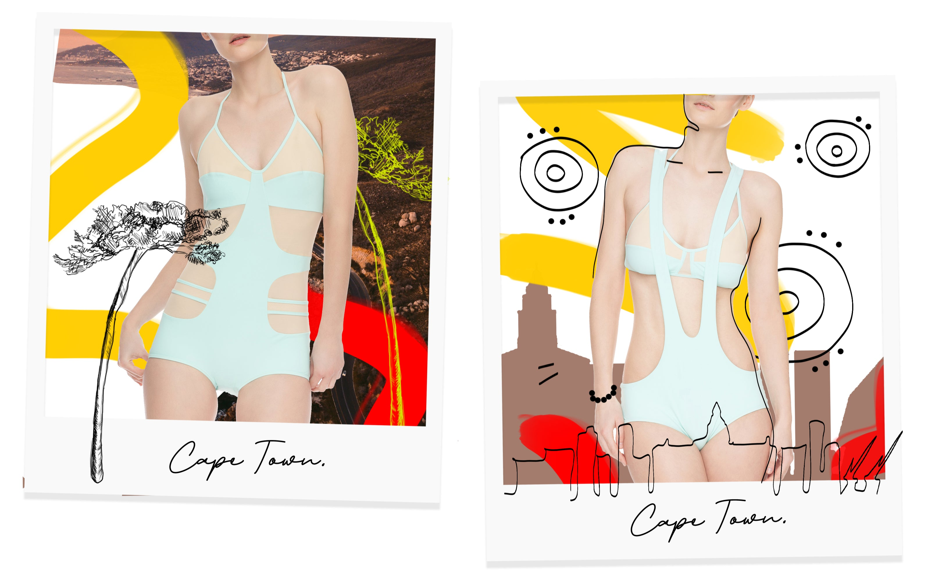 Cape Town Staycation Collection modelled on Polaroid film.