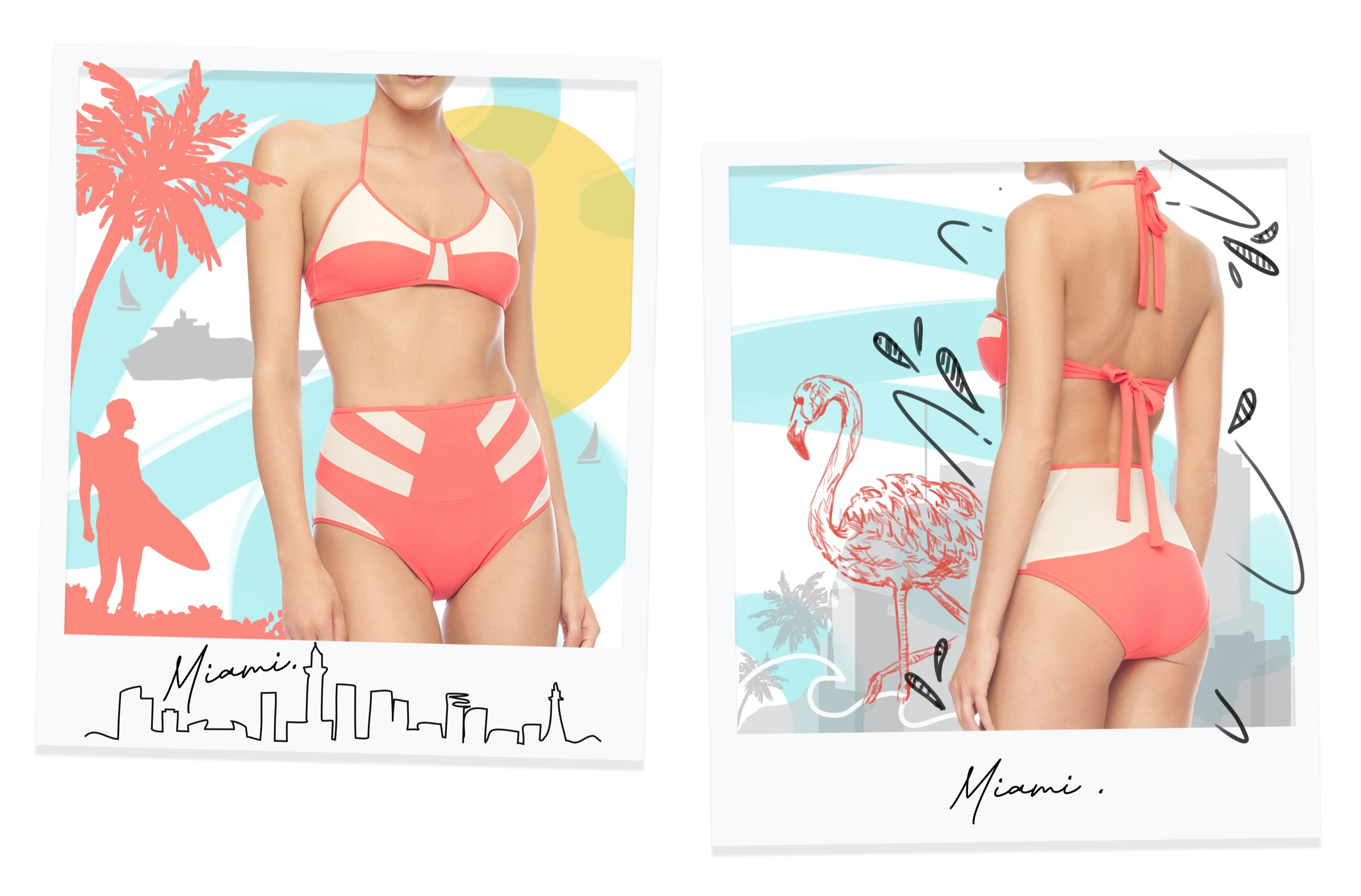 Polaroids showcasing the Miami Staycation Collection