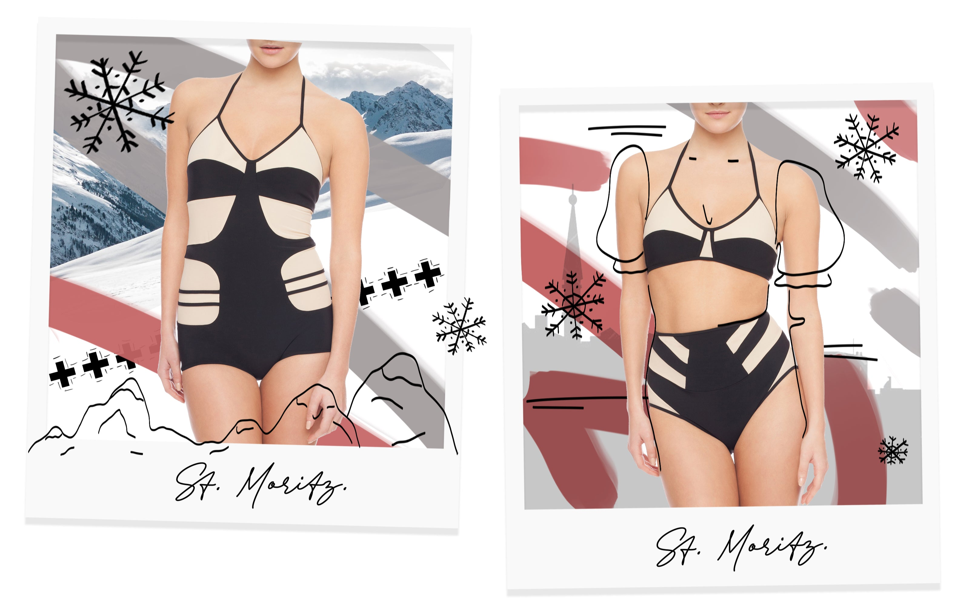 St Moritz Collection decorated with doodles on polaroids.