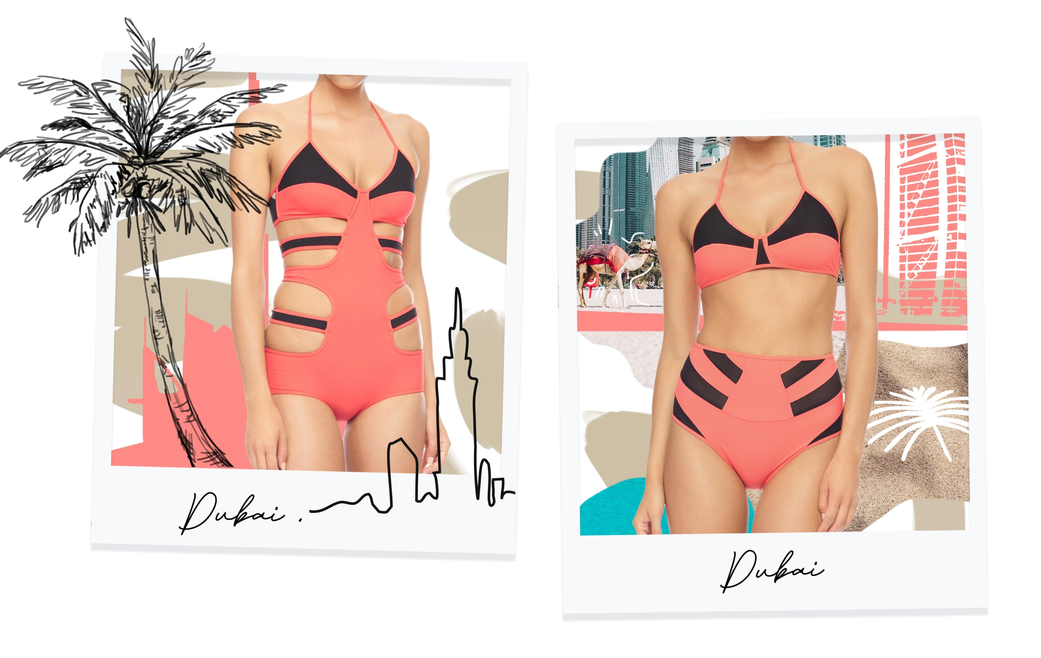 The Dubai Collection modeled on polaroids.