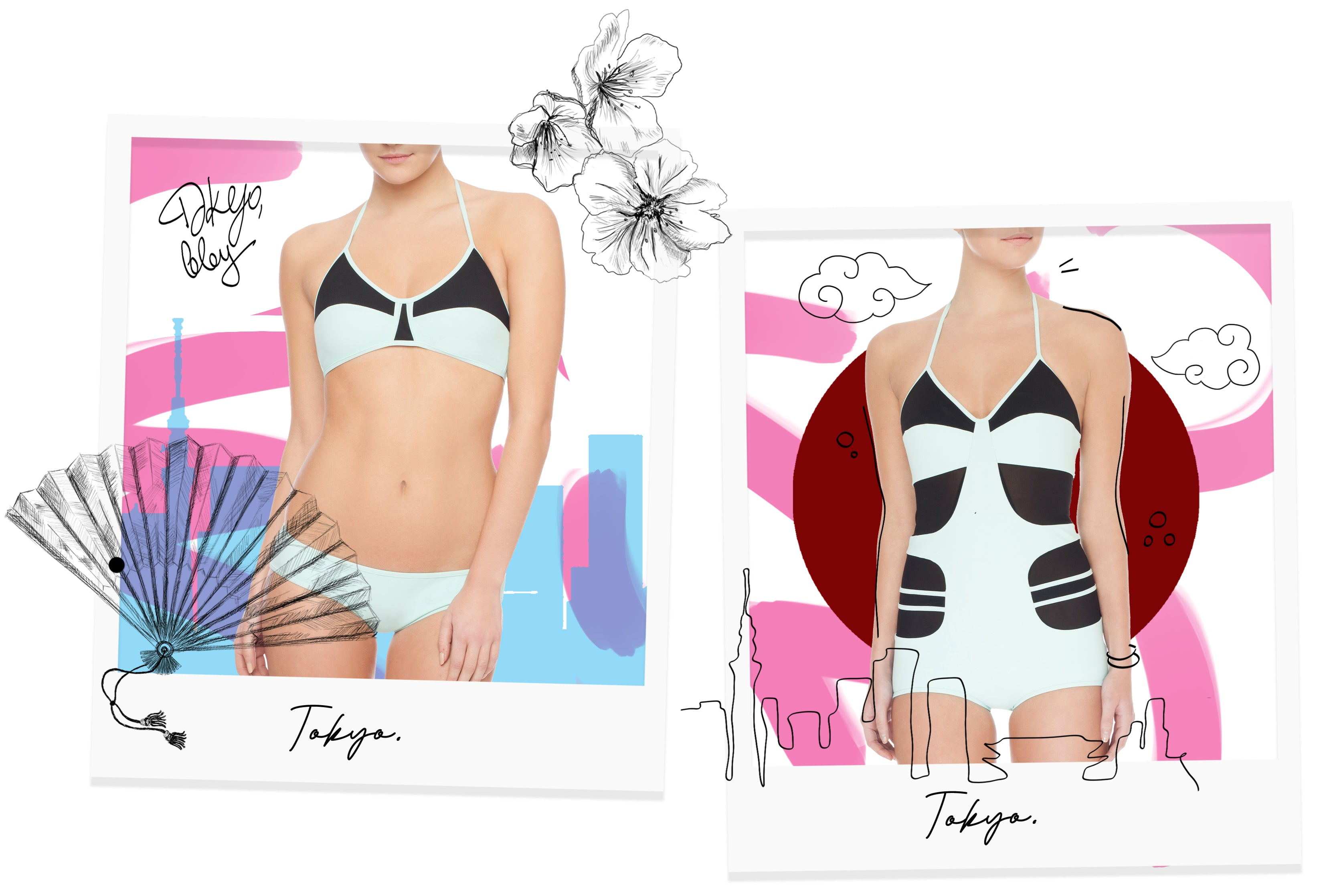 Tokyo Collection being modelled on Polaroid film with pink and blue stripes with Japanese cherry blossoms.