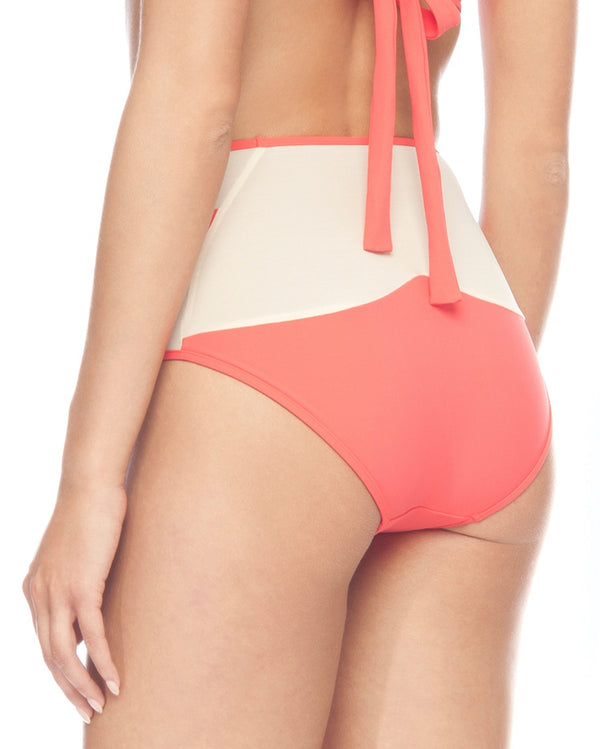 MIAMI HIGH WAISTED BIKINI BOTTOMS CORAL & NUDE