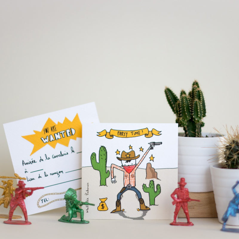 Invitations anniversaire Cowboys - Set de 6 - Mathilde Cabanas