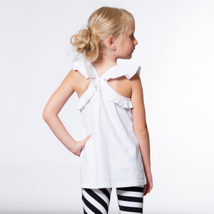 Deux Par Deux Butterfly ruffled tank Top
