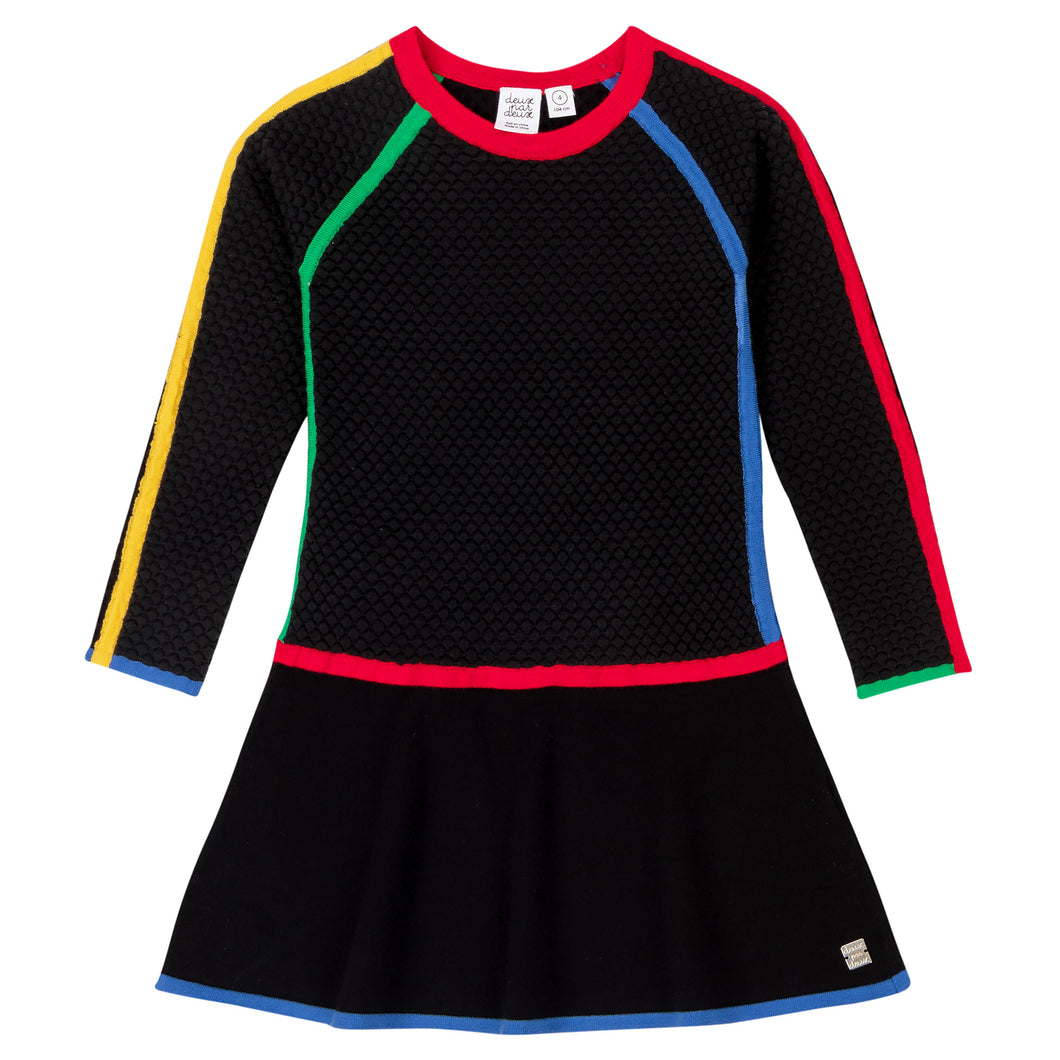 Deux Par Deux Knit Dress with Color Pop Trim