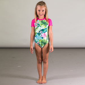 Deux Par Deux One Piece Flamingo Swimsuit with Sleeve