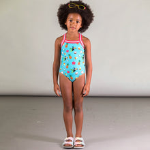 Load image into Gallery viewer, Deux Par Deux Girl's Tropical Printed One Piece with Stripe
