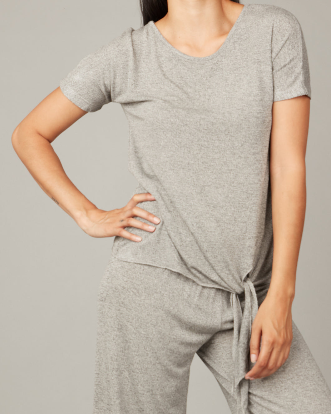 Pistache Melange Viscose Knit Tee with Side Tie