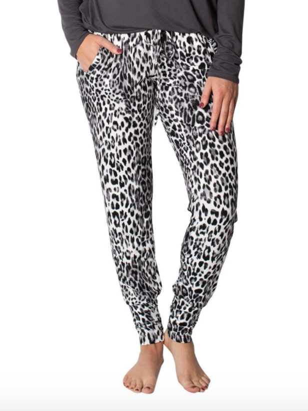 JuJu Jams, Womens 'Riley' Jogger Snow Leopard