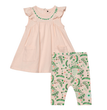 Load image into Gallery viewer, Deux Par Deux Ruffled Cap Sleeve Dress and Pea Print Legging