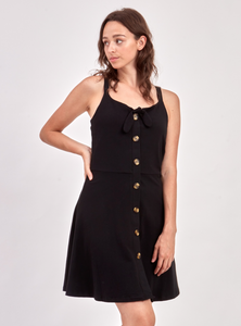 Point Zero Knit Flared Button Dress