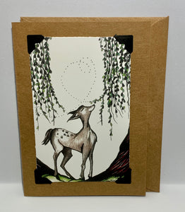 Woodland Spring Deer Baby Card