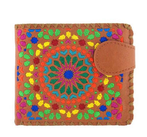 Lavishy Vegan Caramel Circle Embroidered  Wallet