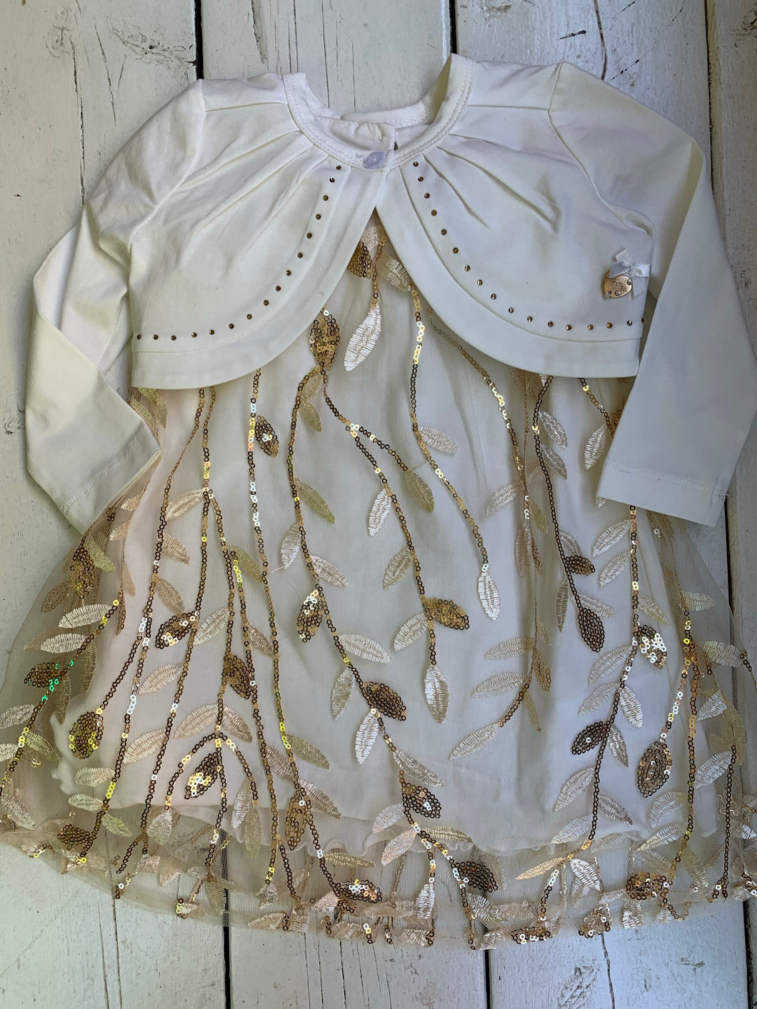 Gold Leaf Baby Dress and Cardigan Set