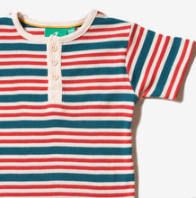 Load image into Gallery viewer, Little Green Radicals Stripe Short Sleeve Henley Tee