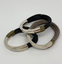 Load image into Gallery viewer, Julie Bissette Metal/Leather Bracelet