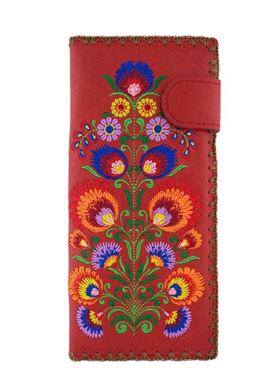 Lavishy Vegan Embroidered Red Wallet
