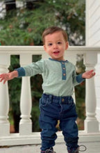 Load image into Gallery viewer, Me and Henry Long Sleeve Onesie Sage Stripe