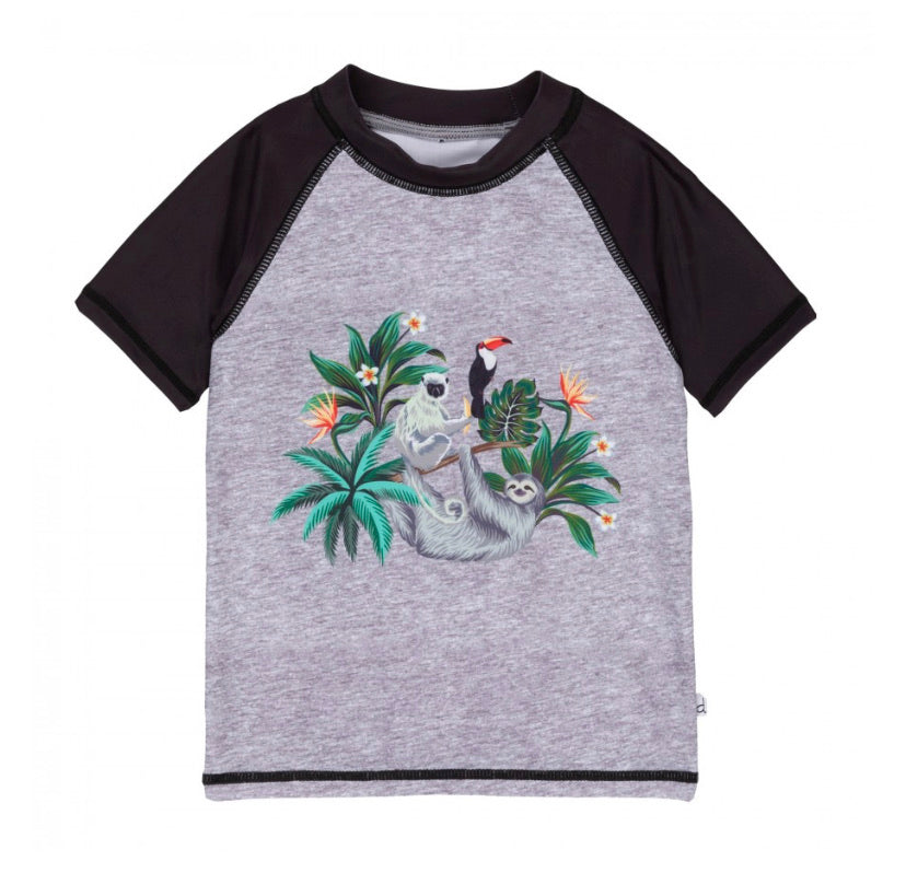 Deux Par Deux Jungle Sloth Short sleeve Rashguard