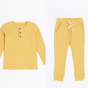 Petit Lem Kid's Lounge Set Golden Yellow Rib