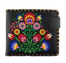 Load image into Gallery viewer, Lavishy Vegan Black Bouquet Embroidered  Wallet