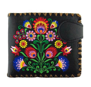 Lavishy Vegan Black Bouquet Embroidered  Wallet