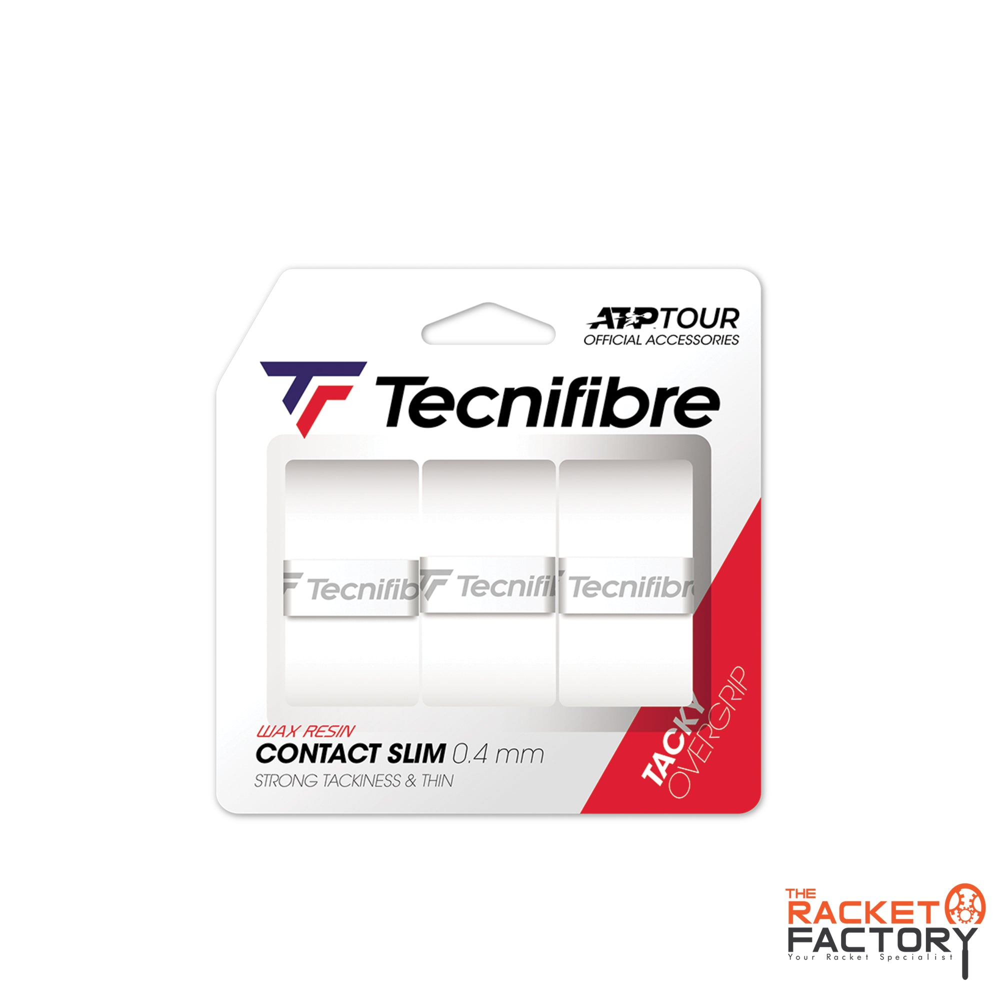 Tecnifibre ATP Contact Slim Over Grip - Pack of 3 (White)