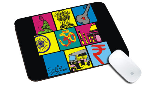 Cool design abstract Indian boxes natural rubber mouse pad - stuffpanda
