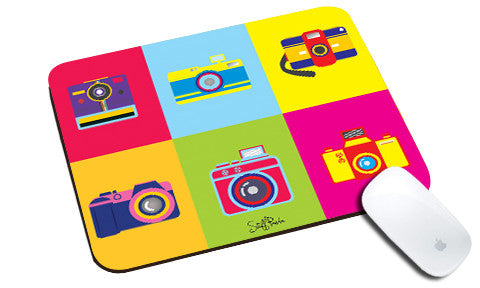 Cool design Abstract Retro Cameras natural rubber mouse pad - stuffpanda