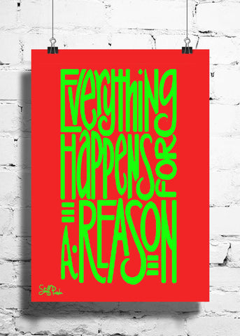 Cool Abstract Motivation Everything happens wall posters, art prints, stickers decals