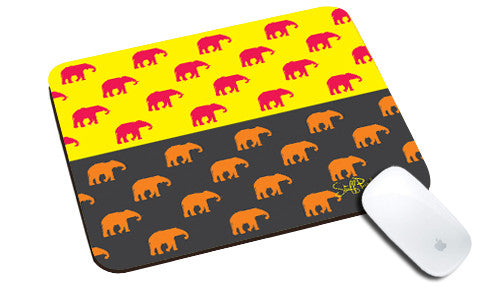 Cool design Abstract ethnic Elephants many natural rubber mouse pad - stuffpanda