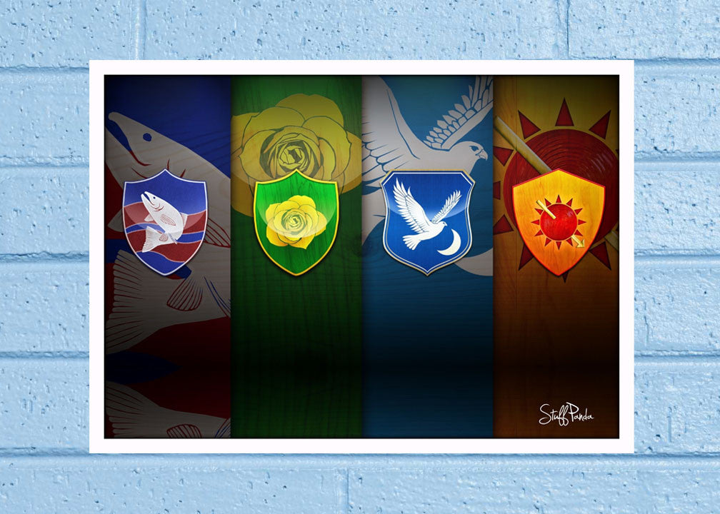 Cool Abstract Game of thrones 4 Houses Wall Glass Frame posters Wall ...
