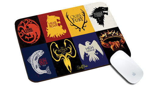 Cool design Game of Thrones natural rubber mouse pad Box flags