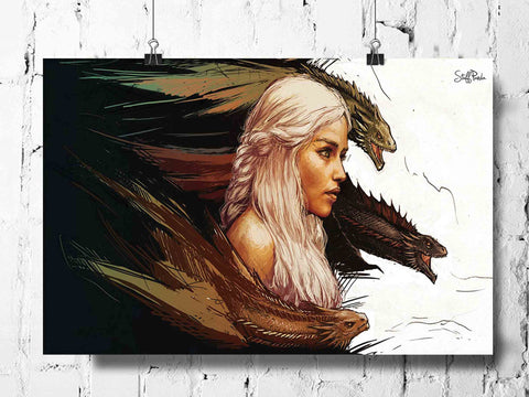 Cool Funky Game of Thrones wall lady horse posters, art prints, stickers decals