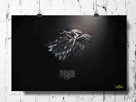 Cool Funky Game of Thrones Winter coming wall posters, art prints, stickers decals