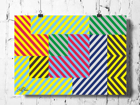 Cool Abstract Line Grid patterns wall posters, art prints, stickers decals