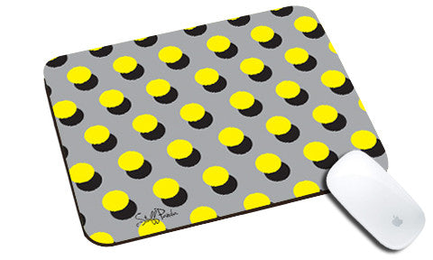 Cool design Abstract Polka dots Grey yellow natural rubber mouse pad