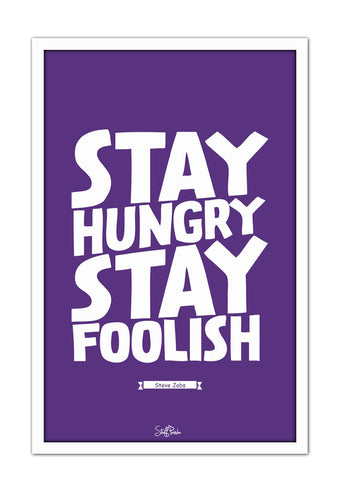 Cool Funky Apple Steve jobs Stay hungry Glass frame posters Wall art