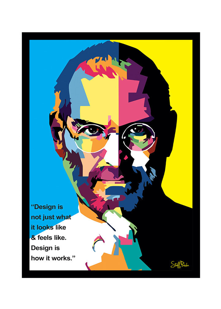 Cool Funky Apple Steve Jobs Pixels face Glass frame posters Wall art - stuffpanda - 1