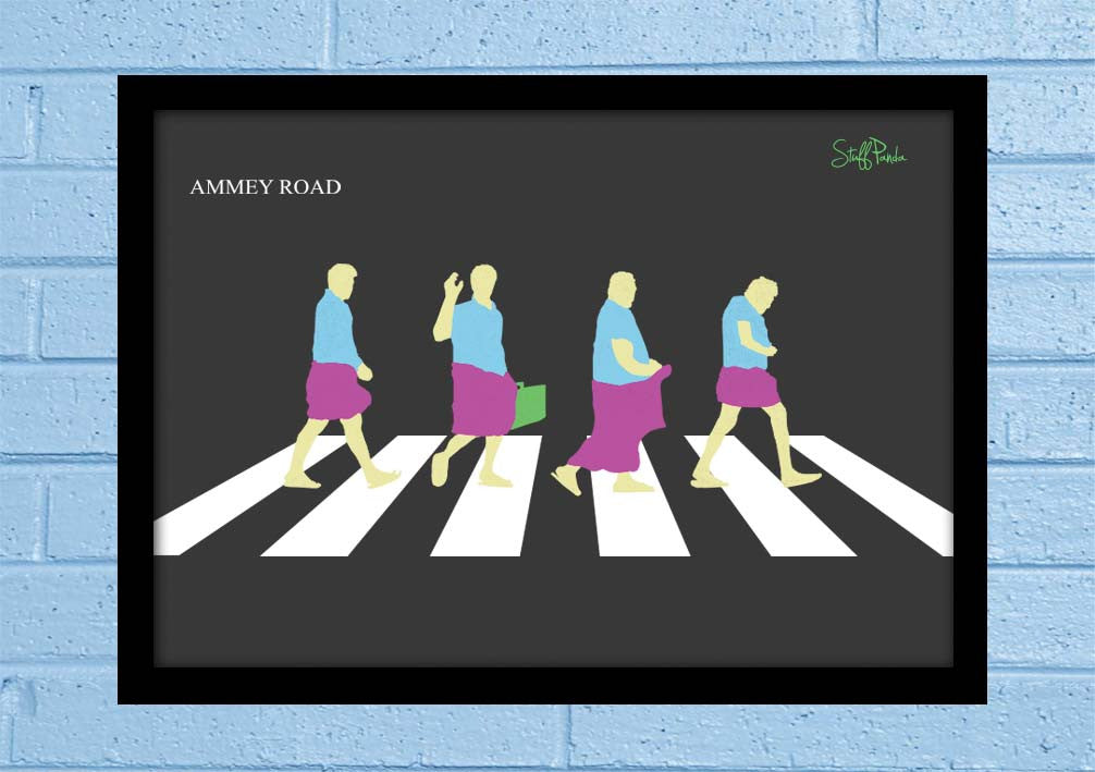 Cool Abstract Funny South Indian Abbey Road Glass frame posters Wall art - stuffpanda - 1